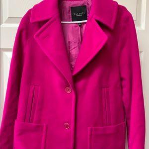 Talbot's Vibrant Magenta Wool Swing (Pea) Coat 16